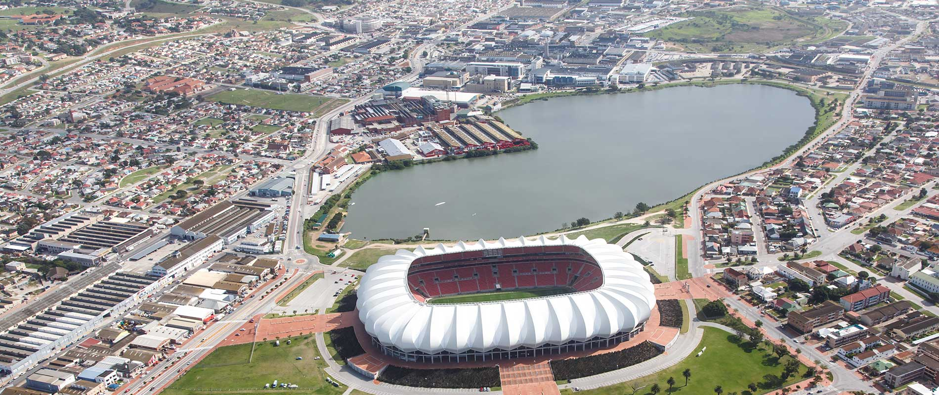 A shot taken from the sky of the Nelson Mandela Bay Stadium and the surrounding area