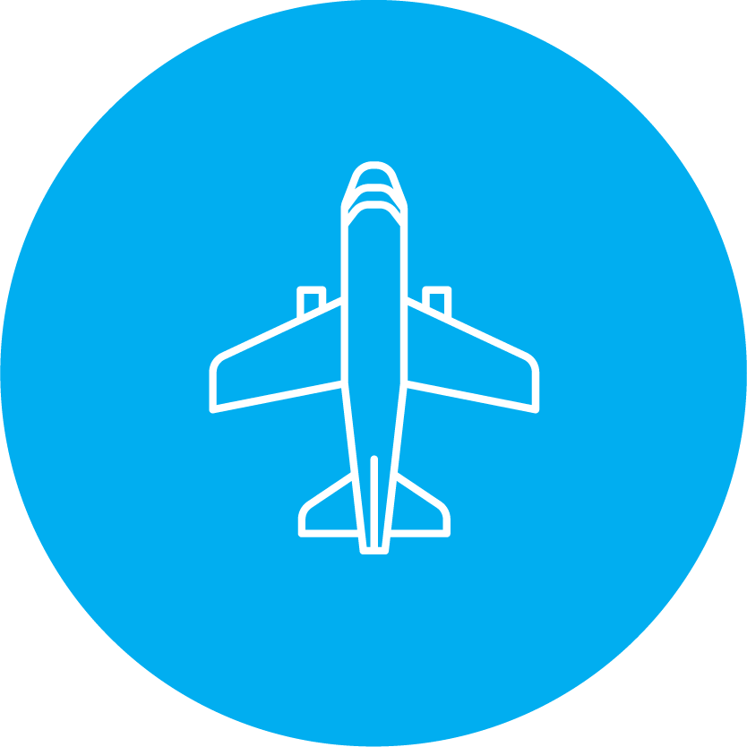 round blue icon with a blue and white aircraft