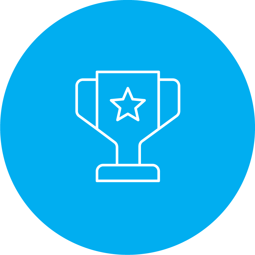 round blue icon with a blue and white trophy