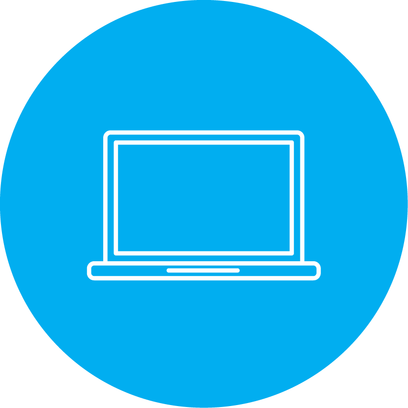 round blue icon with a blue and white computer